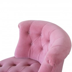 Cotton Velvet Accent Chair - Pink Back Detail