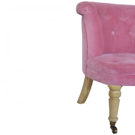 Cotton Velvet Accent Chair - Pink Leg Detail