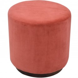 Nava Cotton Velvet Occasional Stool - Red Front View