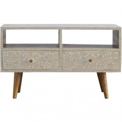 Kuru Two Drawer Floral Bone Inlay Media Unit - Front View
