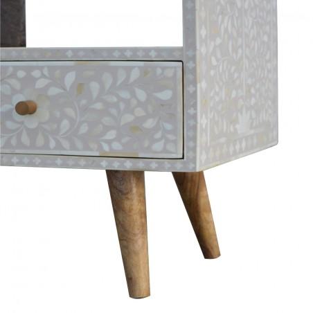 Kuru Two Drawer Floral Bone Inlay Media Unit - Leg Detail