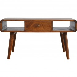 Duddon Curved Coffee Table - Chestnut Front View