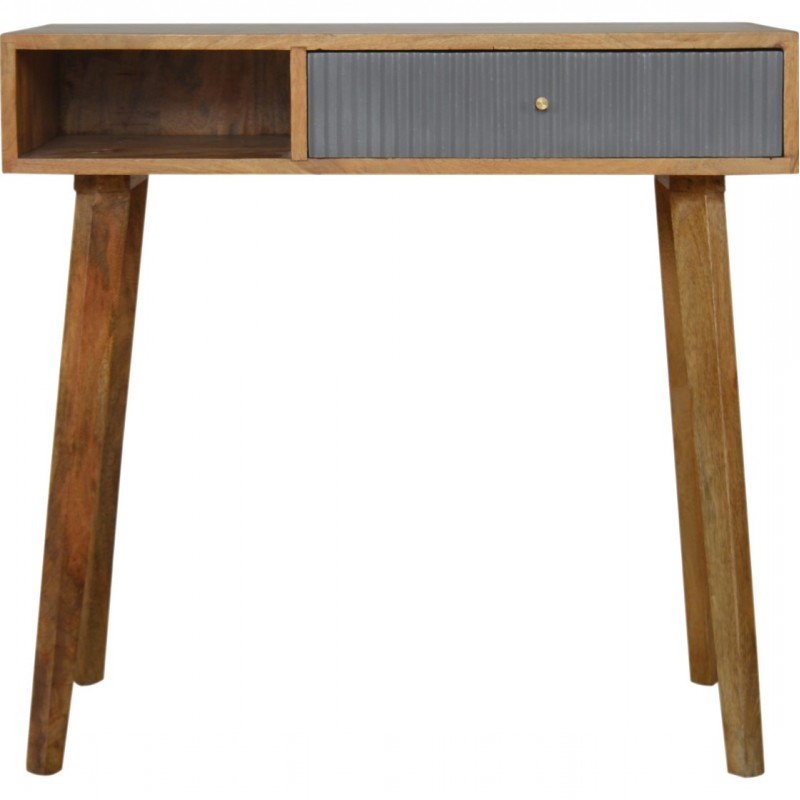 Moston Line Grey Painted Writing Desk - Front View