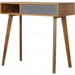 Moston Line Grey Painted Writing Desk - Angled View
