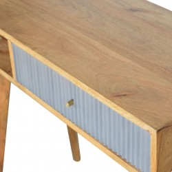 Moston Line Grey Painted Writing Desk - Closed Drawer Detail