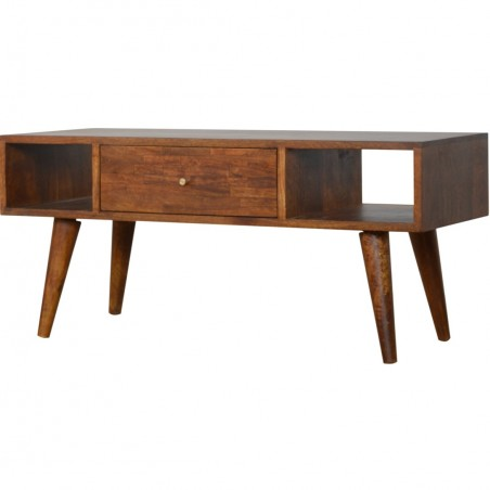 Chester Mixed Wood Coffee Table - Chestnut Angled View