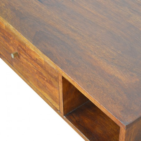 Chester Mixed Wood Coffee Table - Chestnut Top Detail