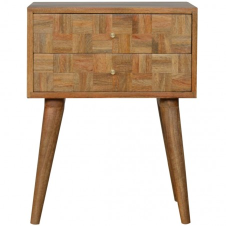 Mixed Wood Two Drawer Bedside Table - Oak Front View