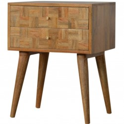 Mixed Wood Two Drawer Bedside Table - Oak