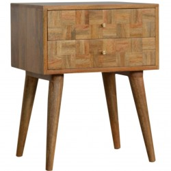 Mixed Wood Two Drawer Bedside Table - Oak Angled View