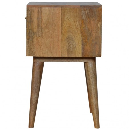 Mixed Wood Two Drawer Bedside Table - Oak Side View