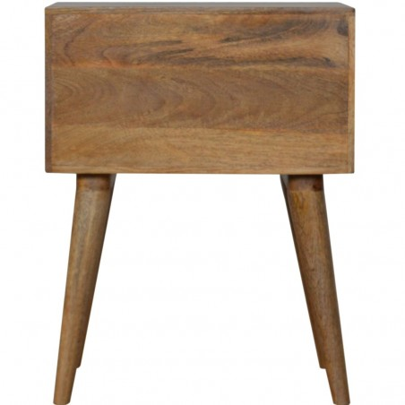 Mixed Wood Two Drawer Bedside Table - Oak Rear View
