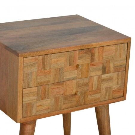 Mixed Wood Two Drawer Bedside Table - Oak Top Detail