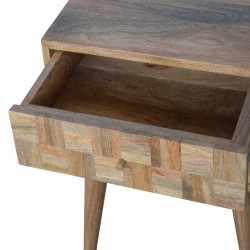 Mixed Wood Two Drawer Bedside Table - Oak Drawer Detail