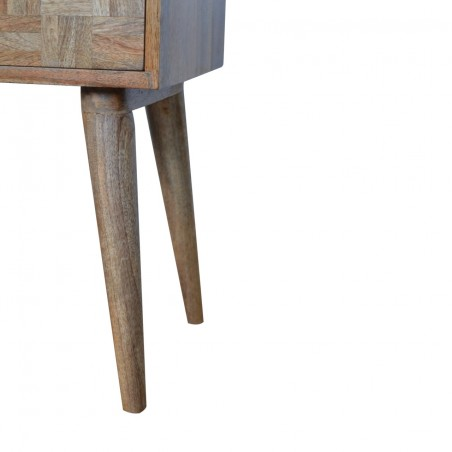 Mixed Wood Two Drawer Bedside Table - Oak Leg Detail