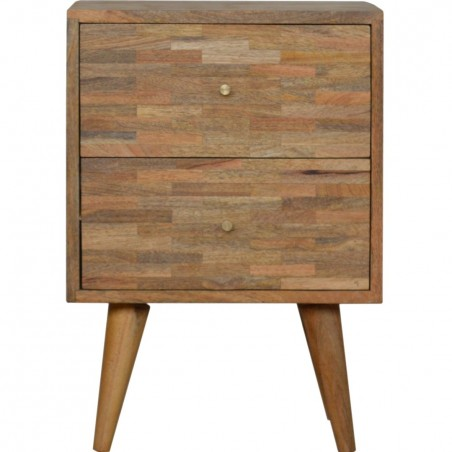 Mixed Wood Two Drawer Bedside Unit - Oak Front View