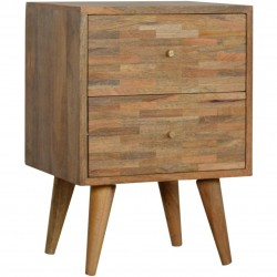 Mixed Wood Two Drawer Bedside Unit - Oak