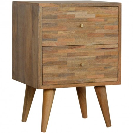 Mixed Wood Two Drawer Bedside Unit - Oak