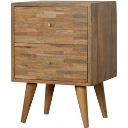 Mixed Wood Two Drawer Bedside Unit - Oak Angled View