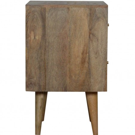 Mixed Wood Two Drawer Bedside Unit - Oak Side View