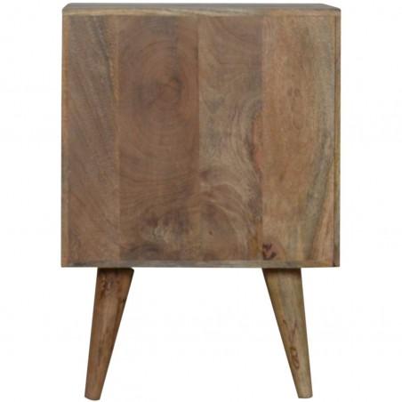 Mixed Wood Two Drawer Bedside Unit - Oak Rear View