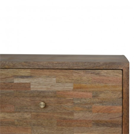Mixed Wood Two Drawer Bedside Unit - Oak Front Detail