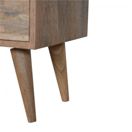 Mixed Wood Two Drawer Bedside Unit - Oak Leg Detail