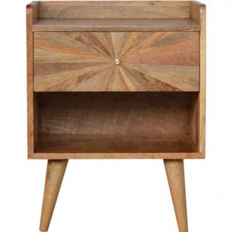 Sunrise Patterned Bedside Table - Front View