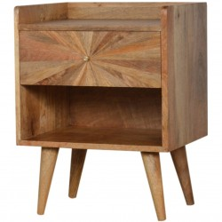 Sunrise Patterned Bedside Table - Angled View
