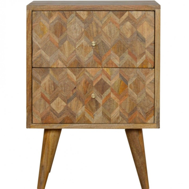 Geometric  Two Drawer Bedside Unit - Oak Front View