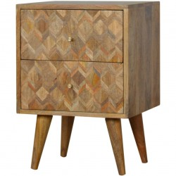 Geometric  Two Drawer Bedside Unit - Oak