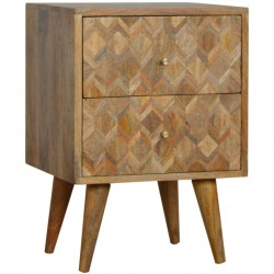 Geometric  Two Drawer Bedside Unit - Oak Angled View