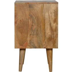 Geometric  Two Drawer Bedside Unit - Oak Side View