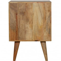 Geometric  Two Drawer Bedside Unit - Oak Rear View