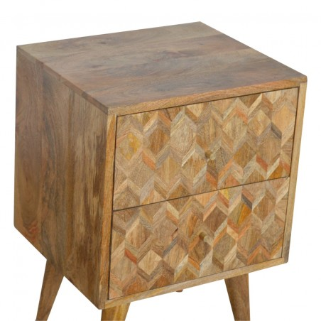 Geometric  Two Drawer Bedside Unit - Oak  Top Detail