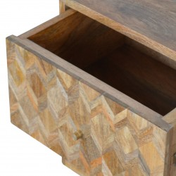 Geometric  Two Drawer Bedside Unit - Oak  Drawer Detail