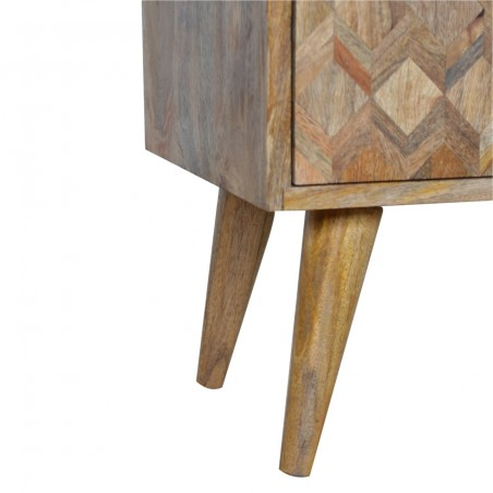 Geometric  Two Drawer Bedside Unit - Oak  Leg Detail