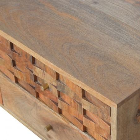 Tile Carved Two Drawer Media Unit - Oak Pattern Detail