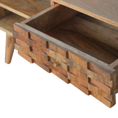 Tile Carved Two Drawer Media Unit - Oak Drawer Detail