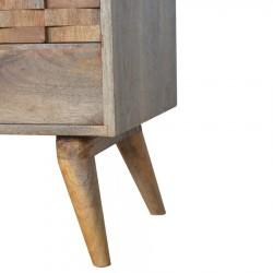 Tile Carved Two Drawer Media Unit - Oak Leg Detail