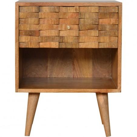 Tile Carved  Bedside Unit with Open Slot Oak Front View
