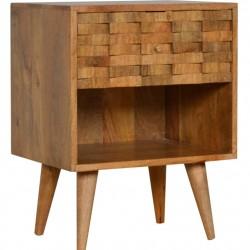 Tile Carved  Bedside Unit with Open Slot Oak