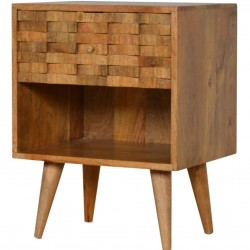 Tile Carved  Bedside Unit with Open Slot Oak Angled View