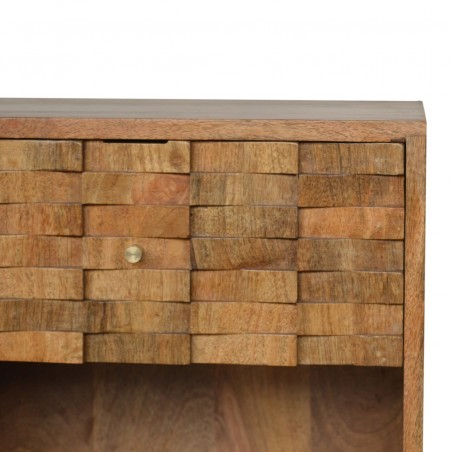 Tile Carved  Bedside Unit with Open Slot Oak Pattern Detail