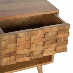 Tile Carved  Bedside Unit with Open Slot Oak Drawer Detail