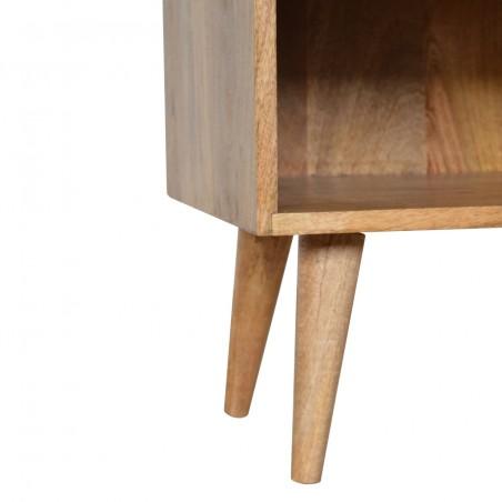 Tile Carved  Bedside Unit with Open Slot Oak Leg Detail