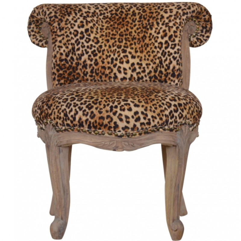 Brochere Leopard Print Studded Chair - Front View