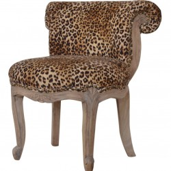 Brochere Leopard Print Studded Chair - Angled View