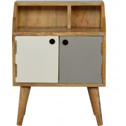 Grey and White Bedside Cabinet - Front View
