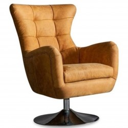 Leicester Real Leather Lounge Chair - Tan